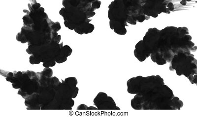 black ink inject in water on white background. 3d animation with luma matte as alpha channel in slow motion. Use for ink effect, transition or beautiful colorful background. flows form a circle. V2