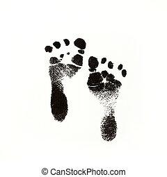 Black Ink Newborn Baby Footprints - a photo of newborn baby...