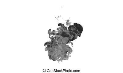 Black Ink on white backgound in water move in slow motion with alpha mask. VFX Flow of Ink or smoke for transitions, background, overlay and effects. Ver 1