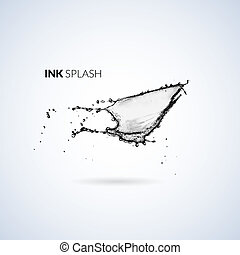 Black ink paint or oil splash isolated on white, vector...