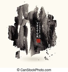 Black ink paint spots. Drops texture isolated on white background.