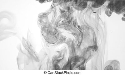 ink poured into water slow motion - black ink poured into...