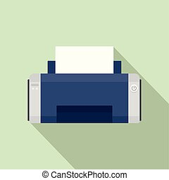 Black ink printer icon, flat style