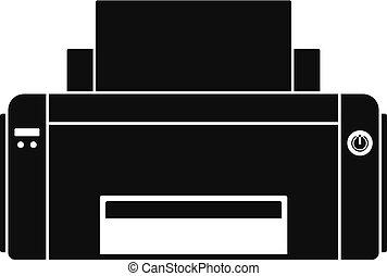 Black ink printer icon, simple style