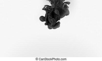 Black ink splash on white background