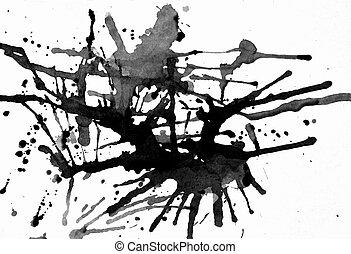 Black ink splatter - Splashes of ink on white