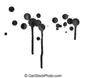 Black ink spot stain composition with leaks over the white...