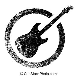 Black Ink Stamp Guitar