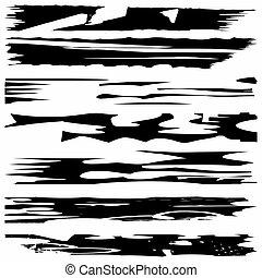 Black ink vector brush strokes