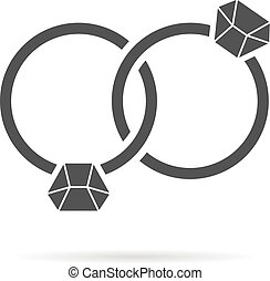 black intertwined rings with shadow