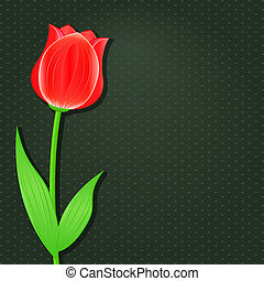 Black Invitation Card with Red Tulip