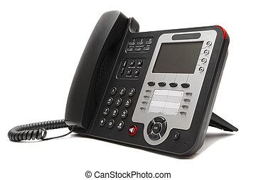 Black IP office phone isolated on white background