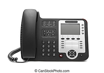Black IP office phone isolated on white