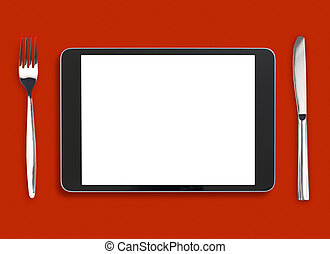 ipad on red table with fork and knife