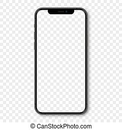 Black Iphone mockup with blank screen and shadow