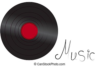 Black iridescent vinyl musical analogue retro old antique hipster vintage gramophone record for gramophone and inscription music on white background on the left. Vector illustration