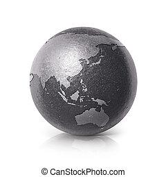 Black iron Asia & Australia world map 3D illustration