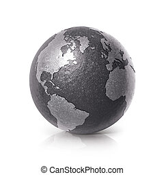 Black iron globe 3D illustration North and South America map