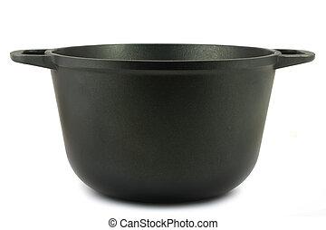 Black iron pot isolated on white background