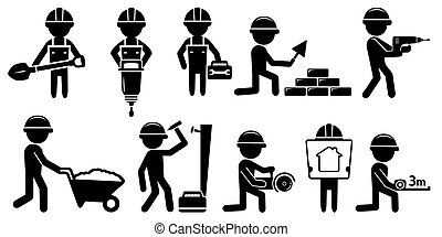 builders set with tools on white background - black isolated...