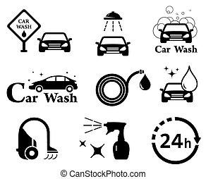 isolated car wash icons set