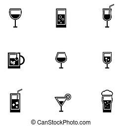 drinking glasses icons set