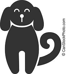 Black isolated icon of dog on white background. Silhouette of dog, front view.