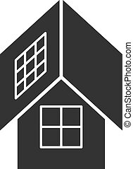 Black isolated icon of eco house with solar panels on white background. Silhouette of ecological house, ecohouse with solar battery.