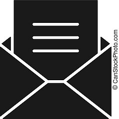 Black isolated icon of envelope with blank, document, letter on white background. Silhouette of envelope. Flat design. Mail, email, e-mail.