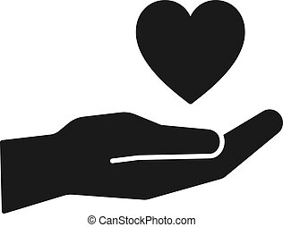 Black isolated icon of heart on hand on white background. Silhouette of heart and hand. Symbol of care, love, charity.