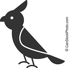 Black isolated icon of parrot on white background. Silhouette of bird.