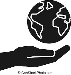 Black isolated icon of planet, earth in hand on white background. Silhouette of globe and hand. Symbol of care, protection. Save planet. Flat design.