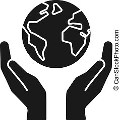 Black isolated icon of planet, earth in hands on white background. Silhouette of globe and hands. Symbol of care, protection. Save planet.