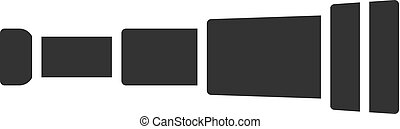 Black isolated icon of spyglass on white background. Silhouette of spyglass.