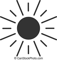 Black isolated icon of sun on white background. Silhouette of sun.