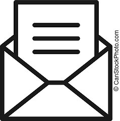Black isolated outline icon of envelope with blank, document, letter on white background. Line Icon of envelope. Mail, e-mail, email.