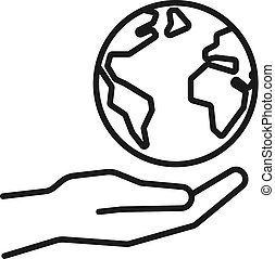 Black isolated outline icon of planet earth in hand on white background. Line Icon of planet, globe and hand. Symbol of care, charity.