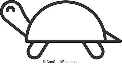 Black isolated outline icon of turtle on white background. Line Icon of tortoise.