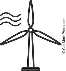 Black isolated outline icon of wind energy turbine on white background. Line Icon of wind energy station.
