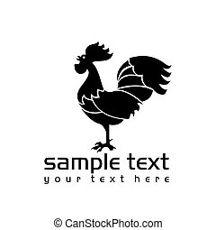 rooster - black isolated rooster on white background