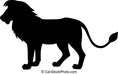 Black isolated silhouette of lion on white background. Side view.