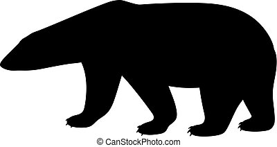 Black isolated silhouette of polar bear on white background. Side view.