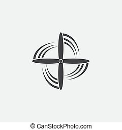 Black isolated silhouette of propeller of airplane on white background. Icon
