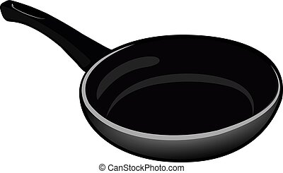 Black isolated Teflon pan for kitchen on a white background