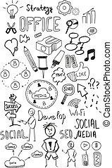 Black isolated web doodles set