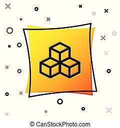 Black Isometric cube icon isolated on white background. Geometric cubes solid icon. 3D square sign. Box symbol. Yellow square button. Vector Illustration