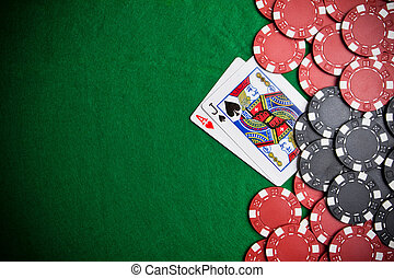 Black Jack - Casino gambling chips with copy space