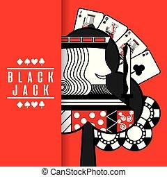 black jack casino poker cards king chip red background