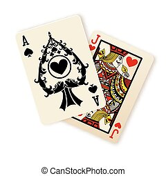 Black Jack playing cards combination.