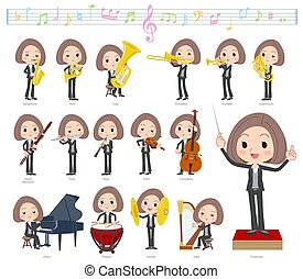A set of women on classical music performances. There are actions to play various instruments such as string instruments and wind instruments. It's vector art so it's easy to edit.
